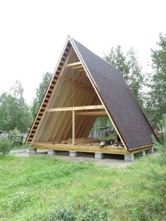 A-shaped house. A-frame house hut. Tiny Cabins, Tiny House Cabin, Tiny House Design, Cabin Homes, A Frame Cabin Plans, Triangle House, Forest House, Wooden House, House In The Woods