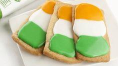 Three irish flag cookies.
