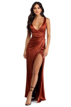Rebecca Bronze Satin Ruched Dress