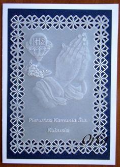 kartka komunijna  communion  cards  parchment craft.Pergamano