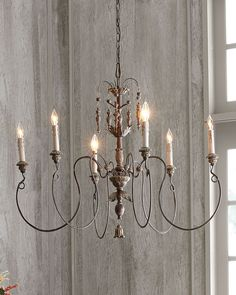 Horchow French Restoration Vintage Exquisite Copper 6 Light Chandelier $450  #na