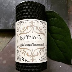 BLACK  hand wrapped Beeswax Candle // Unscented // Buffalo Gal Home Collection by BuffaloGalOrganics on Etsy