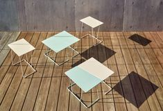 The multipurpose Tango tables have a geometric aesthetic that can be nestled together. The table top is available in hand stitched leather, metal powder coat & American Oak veneer, the legs are available in metal powdercoat Indian Furniture, Cheap Furniture, Furniture Design, Office Furniture, Outdoor Side Table, Metal Side Table, Industrial Furniture, Wood Design, Tango