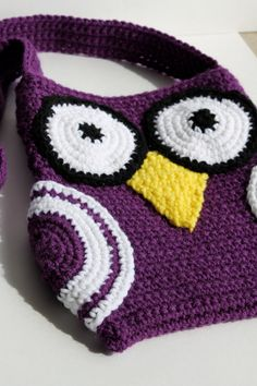 Crochet Owl Bag - Ready to Ship  (Purple and White)