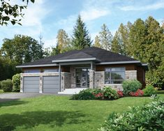This elegant bungalow displays a clearly contemporary style with its stone, wood and aluminum facing as well as the porch above its beautiful entrance. The house is 52 feet 5 inches wide by 55 feet deep and provides square feet of living space in ad House Siding, Garage House, Car Garage, Bungalow House Plans, Bungalow House Design, Beautiful Home Designs, Beautiful Homes, Stone Kitchen Island, Garage Plans With Loft