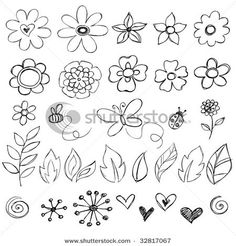 Illustration about Sketchy Doodle Flowers and Cute Bugs Vector Illustration. Illustration of garden, butterfly, doodle - 9964608 Doodle Patterns, Zentangle Patterns, Flower Patterns, Doodle Designs, Zen Doodle, Doodle Art, Flower Doodles, Doodle Flowers, Drawing Flowers