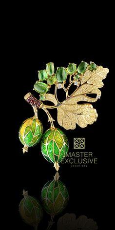 Fruit brooch - 18K yellow gold, hot enamel, diamonds, cognac diamonds, tourmalines. Z