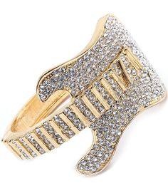 Rock Band Chunky Gold Clear Swarovski Crystal Pave GUITAR Cuff Jewelry BRACELET $26.99