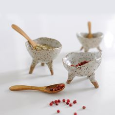 These versatile handbuilt bowlscan be used in the kitchen (to hold salt, pepper or condiments),on top of your dresser as a unique jewelry holder or as a beaut