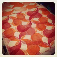 Am liking the movement in this one!  #textiledesign #fabricprinting #blockprinting #scratchplate #swirls #acoustic #guitar #guitarart #ink #ecofriendlyink #permaset_aqua #textiledesigner #pattern #opart #opticalart #interiordesign #retrodesign #orange #red #vintagegroove #shelleyhughesartist #blockprint #handprinted #imadeit