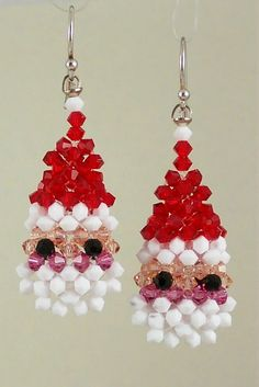 This is a 3-dimensional, double-sided puffed Santa Claus earrings entirely made with Swarovski bicone 3mm crystals, total 194pcs. The kit includes a step by step instruction with lots of diagram, and all materials ( crystal, sterling silver ear wire, thread, needles) needed to make one pair of earrings. Level: Intermediate.