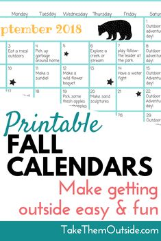 Looking for outdoor activity ideas this fall? Download these printable calendars full of fall activity ideas for preschoolers and families | #activitycalendar #fallactivities #takethemoutside #printablecalendar #printables #2018calendar #outdooractivities #getoutside