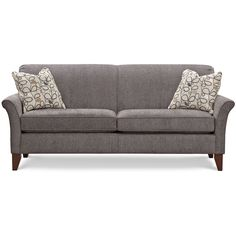 Style Collection Elle sofa was designed with -inchsmall scale-inch in mind.  Upholstered in a medium grey fabric that is soft to the touch.  A contrast pattern has neutral tones with a touch of amethyst.