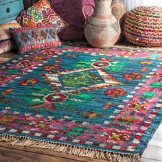 Shop nuLOOM Multicolor Southwestern Cotton Flatweave Diamond Medallion Tassel Area Rug - On Sale - Overstock - 19518786 - Blue - x Living Room Carpet, My Living Room, Bungalow, Bohemian Pattern, Area Rugs For Sale, Buy Rugs, Rugs Usa, Indoor Rugs, Contemporary Rugs