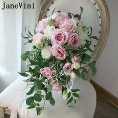 JaneVini Elegant Waterfall Wedding Bouquet 2018 Pink Roses Artificial Wedding Flowers for Bride Bridal Bouquet Bruids Boeket #weddingbouquets