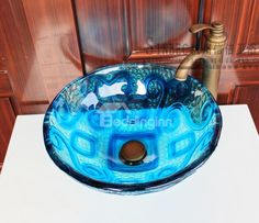 New Arrival Artistic Blue Color with Abstract Pattern Round Transparent Tempered Glass Vessel Sink