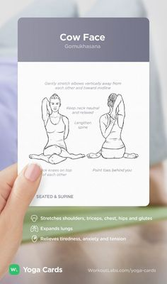 HOW TO: Cow Face yoga position – visual workout sequence pose and benefits guide for beginners from the YOGA CARDS deck by WorkoutLabs: http://WLshop.co