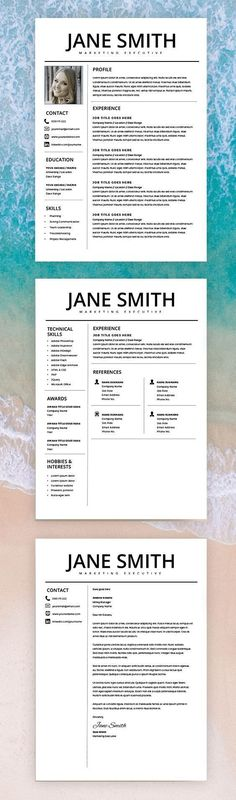 Resume Professional Resume Template - Word & Page Compatible - Best CV Template - Free Cover Letter - Mac / PC - Sample - Instant Download