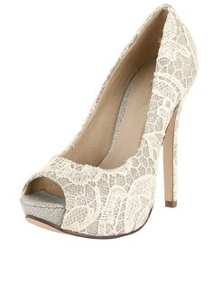 f0bbe18428 Little Mistress Keaton Heavy Lace Peep Toe Platforms | very.co.uk Wedge  Wedding