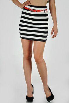 Skirt Mini S M L Nautical Navy Blue White Striped Red Patent Belt Jersey Sexy