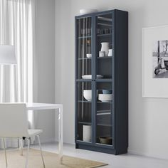 "BILLY Bookcase with glass doors, dark blue, 31 1/2x11 3/4x79 1/2"" - IKEA Bookcase With Glass Doors, Glass Cabinet Doors, Glass Shelves, Bookcase White, Storage Cabinets, Tall Cabinet Storage, Locker Storage, Display Cabinets, Billy Oxberg"