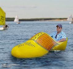 yellow clog boat - cool!