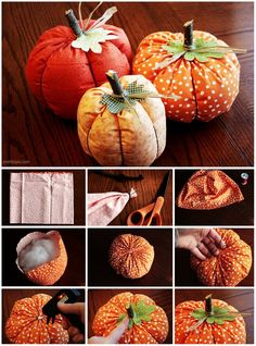 These DIY cloth pumpkins would make great decorations for your mantle or table!