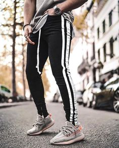 Outfit featuring our Double Striped Jeans in Black and White. Latest Jeans, High Fashion, Mens Fashion, Mens Bootcut Jeans, Masculine Style, Casual Outfits, Fashion Outfits, Striped Jeans, High Jeans