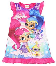 NICK JR Shimmer And Shine and Pets Nightgown for Little Girls (8) - Style #21HIO60GDTZA - nickelodeon genie palace kitty cat monkey pink purple white blue Nahal Tala clouds magic carpet jewels ruffle sleeve ruffled edge sleepwear night gown shirt sleep sleepshirt character ame. AVAILABLE WHILE SUPPLIES LAST!