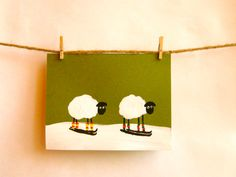 Items similar to Two Skiing Sheep -- Hand Painted on Green Card on Etsy Sheep Cards, Kraft Envelopes, Skiing, Card Stock, Stationery, Handmade Gifts, Hand Painted, Green, Hobbies