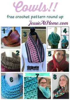 Cowls free crochet pattern round up from Jessie At Home Arm Knitting, Knitting Patterns, Cowl Patterns, Crochet Patterns, Crochet Gifts, Free Crochet, Knit Crochet, Crochet Scarves, Crochet Clothes