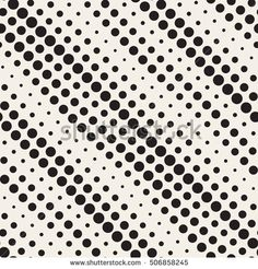 Vector Seamless Black and White Diagonal Halftone Circle Lines Pattern. Abstract Geometric Background Design