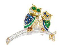 GEM-SET AND DIAMOND 'OWL' BROOCH – Sotheby's