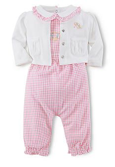 Ralph Lauren Childrenswear Gingham Coverall 3-Piece Set