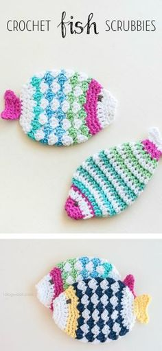 Free pattern for crochet fish scrubbie washcloths. Wouldn't this make great housewarming gifts?   www.1dogwoof.com