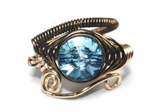 Swarovski crystal Eye of Horus wire ring