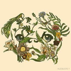 huebucket:  Botanical Pug {id 312} by Huebucket