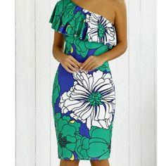 Bold Floral One Shoulder Dress