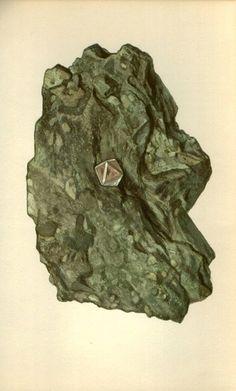 Antique Prints, 1950s Rocks and Minerals 54,diamond wall art vintage coloured illustration rocks natural science