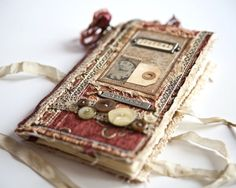YouTube video of complete flip through: https://youtu.be/Mik2QcxSSiM (copy and paste into address bar) Joanna hurriedly crafted this journal from scraps of material and trims she had so she could document her familys journey back to Atlanta after the Civil War had ended. She hopes
