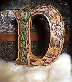 Block letter, custom designed, tooled leather by Tamra at ArteVae
