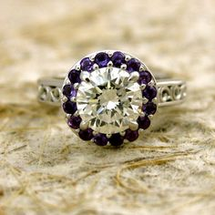 1.10ct Round Diamond Engagement Ring with Amethysts and Scroll Work cast in 14K White Gold