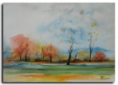 9x12 ORIGINAL Landscape Painting on paper by by studiomosaic, $75.00