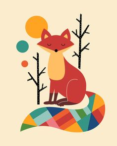 Buy Rainbow Fox Art Print by Andy Westface. Gallery-grade art prints and framed prints by living artists the world over. Worldwide shipping available. Art Fox, Fuchs Illustration, Tree Illustration, Fine Art Prints, Canvas Prints, Wall Prints, State Art, Wrapped Canvas, Cute Animals