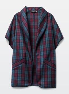 This plaid wool blend poncho is oversized and designed with a large shawl collar and dolman sleeves. It has welt pockets at the hip and exaggerated slits on each side of the hem tha tmake layering easy and comfortable. Welt Pocket, Clothes For Sale, Wool Blend, Men Casual, Plaid, Mens Tops, Capes, Shopping, Fashion