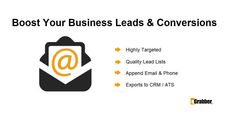 Boost Your Business Leads and Conversions! Try to LeadGrabber Pro ➡ Highly Targeted ➡ Quality Lead Lists ➡ Append Email & Phone ➡ Expers to CRM / ATS