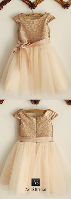 Elegant Sequin Lace & Tulle Scoop Neckline Cap Sleeves A-line Flower Girl Dresses With Belt