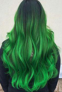 long wavy green hair
