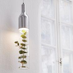 Bottle LED Glass Ceiling Pendant Light - Chrome from Lighting Direct. Copper Ceiling, Copper Pendant Lights, White Pendant Light, 5 Light Chandelier, Glass Ceiling, Ceiling Pendant, Pendant Lighting, Lustre Vintage, Wall Lights