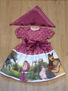 Vestido Infantil da Masha e o Urso